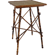 Antique French Tortoise Bamboo Table