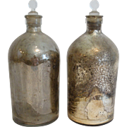Antique Mercury Glass Apothecary Bottles, Pair