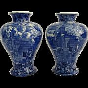 Blue & White Wedgwood Vases, Pair
