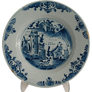 19th-Century Delft Chinoiserie Plate