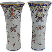 Antique French Faience Rouen Vases, Pair