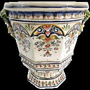 Antique French Faience Rouen Cache Pot Jardiniere