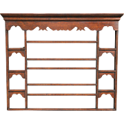 English Oak Hanging Delft Wall Plate Rack Shelf, Circa 1910