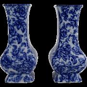 Antique Blue & White Cavendish Vases, Pair, English