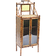 19th-Century Scorched Bamboo Cabinet