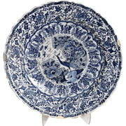 18th-Century Antique Chinoiserie Dutch Delft Charger Platter