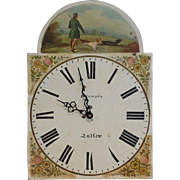 Tall Case Clock Face w/Hunting Scene, C. 1820