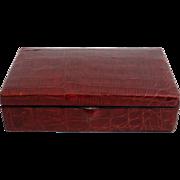 Antique Crocodile Skin Jewelry Box