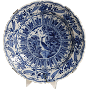 Antique Delft Chinoiserie Platter / Charger, 18th-Century