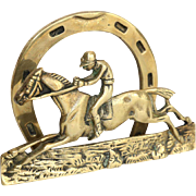 Equestrian Letter Rack / Holder, English, Horse & Jockey