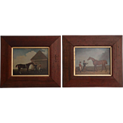 Equestrian Race Horse Lithographs, Pair English