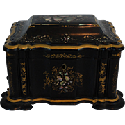 Antique English Tea Caddy w/ Mother of Pearl, Abalone