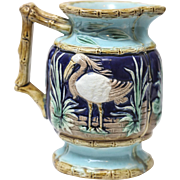 Antique English Cobalt Majolica Pitcher w/Shorebirds