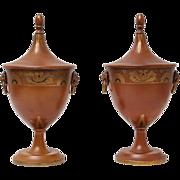 Antique Continental Tole Ware Chestnut Urns, Pair