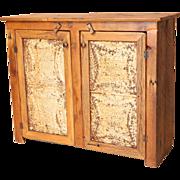 SALE Rustic American Pine Cabinet w/Ceiling Tile Doors