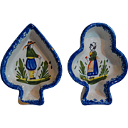 SALE Quimper Butter Pats, Spade & Club Shapes, French Faience