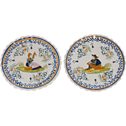 SALE Early French Quimper Plates, Set of 2