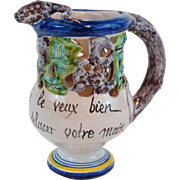 French Quimper Faience Puzzle Jug