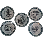 French Sporting Humorous Faience Plates, Set of 5