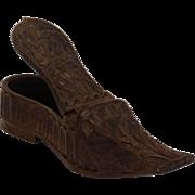 Antique Ladies Wood Snuff Shoe
