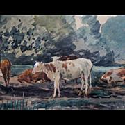 Cattle in Bucolic Landscape Watercolor