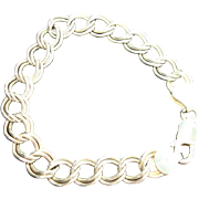 SALE Vintage Italian Sterling Double Link Charm Bracelet