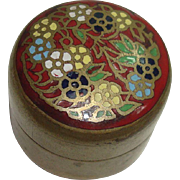 SALE Very Cute Brass Cloisonne Pill Box