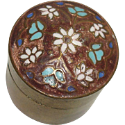 SALE Floral and Enamel Brass Pill Box