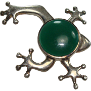 SALE Sterling Green Stone Frog Pin