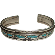 SALE Very Nice Southwest Sterling Turquoise and Mother of Pearl Bracelet