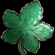 SALE Meka Danish Sterling Enameled Maple Leaf