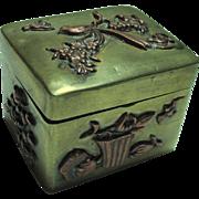 SALE Nice Bronze with Applied Copper Scenes Pill Box
