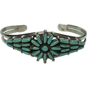 SALE Nice Petite Point Turquoise Sterling Bracelet
