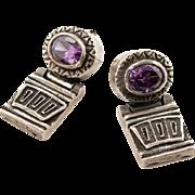Vintage sterling silver amethyst earrings