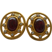 REDUCED Vintage gold tone GIVENCHY earrings with ruby red rhinestone