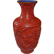 Asian handcarved red cinnabar laquer vase