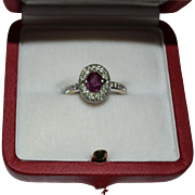 SALE 18K white gold handmade ruby ring with diamonds total 1.80ct