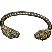 Vintage sterling silver-gold plated bracelet with lion heads