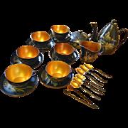 Vintage set of 6 laquerware tea cups with saucers, tea pot, milk jug, sugar bowl ...