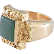 Gold Nugget Top Ring With Jade