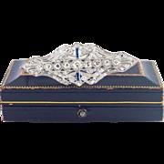 SALE 14 Karat White Gold Edwardian Diamond and Sapphire Pin