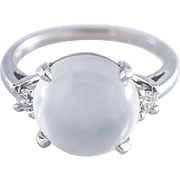 14K White Gold Moonstone and Diamonds Ring