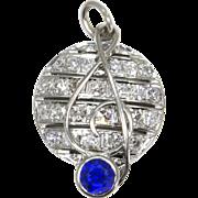 SALE Vintage Music Treble Clef Blue Sapphire and Diamond Platinum Pendant