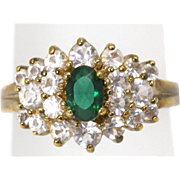 Vintage Simulated Emerald and Diamond Ring, Gold Plated