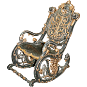 Heavily Carved Victorian Sleigh Rocking Chair