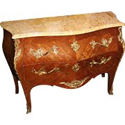 Fine French Bombé Marble Topped Marquetry Commode c.1890