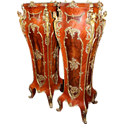 Pair of Louis XV Style Marble Topped Ormolu Mounted Inlaid Pedestals