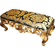 Gilt Carved Wood Harrison & Gil Double Size Upholstered Stool