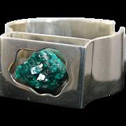 Heavy Sterling Silver Quartz Stone Bracelet