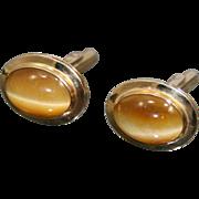 Gents 14k Gold Tiger's Eye Cufflinks